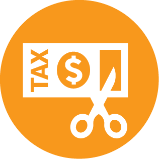Income tax and GST savings web icon